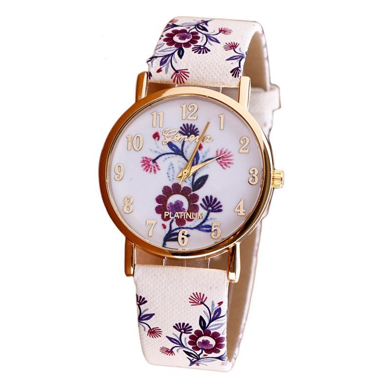Women\'s Watch, 2016 New Flower Patterns Leather Watches Lady Girl ...