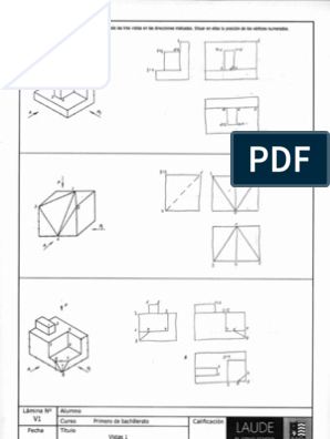 Laminas Sobre Vistas Soluciones Isometric Drawing Exercises Drawing Exercises Technical Drawing