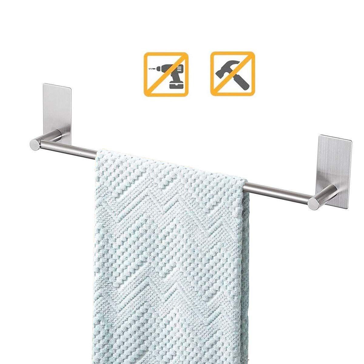 Bathroom Towel Bar 16inch Easy Install With Self Adhesive No Drilling On Walls Towel Bar Bathroom Towel Bar Towel Rack