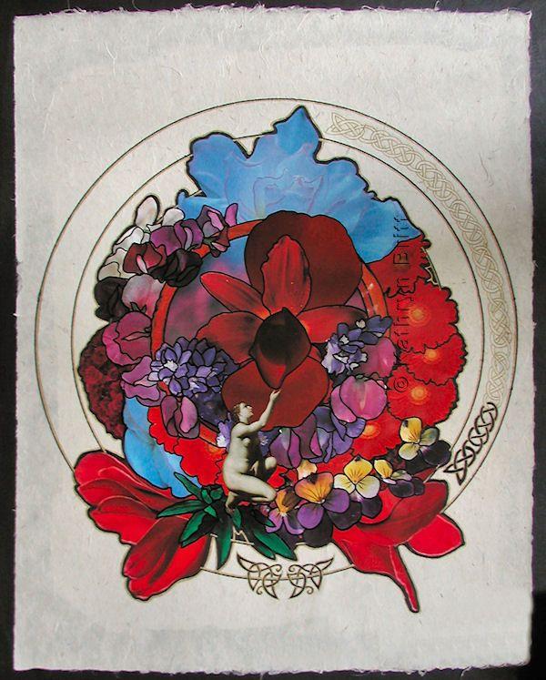 "mandala collage  (mixed media, 24"" x 36"")"