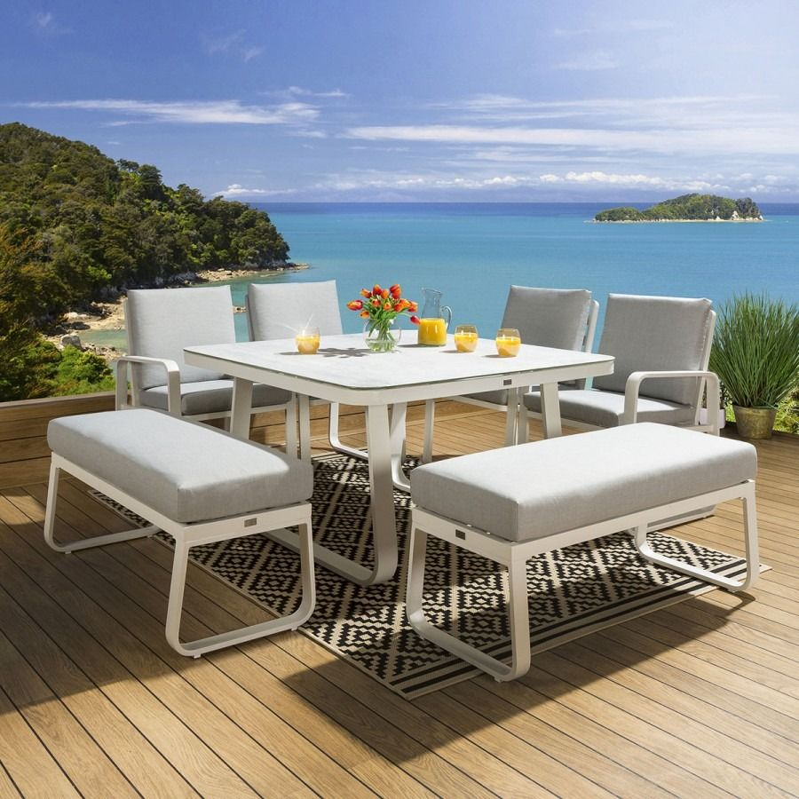 Outdoor Dining Set Square Ceramic Table 2 Benches 4 Chairs White Silver In 2020 Outdoor Dining Set Outdoor Dining Dining Set