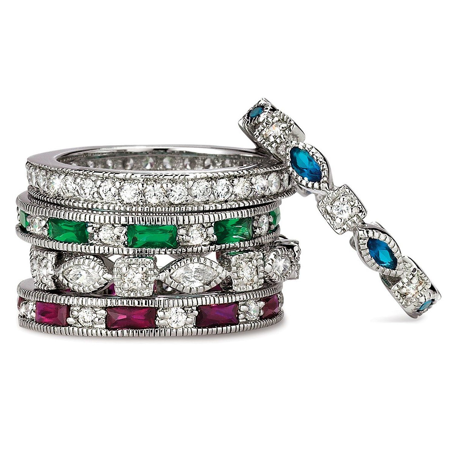 Susanb Designs Simulated Emerald Sapphire Ruby 5 Band