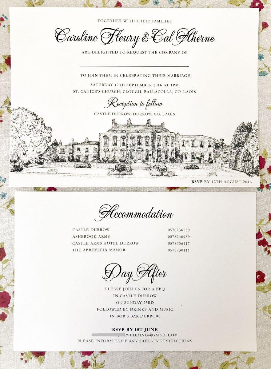 wedding invitation, venue illustration, irish wedding