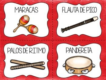 SPANISH ENGLISH INSTRUMENT CARDS ORFF INSTRUMENTS INCLUDED