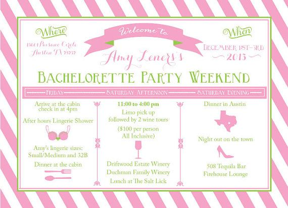Bachelorette weekend itinerary by oohlalovely on etsy 22 for Bridal shower itinerary template