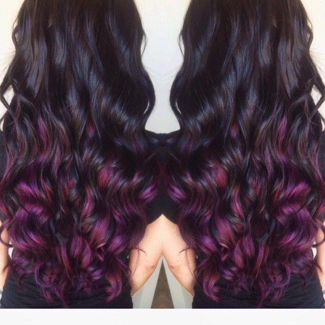 Dark Brown With Pravana Purple Underneath Hairstyles Pinterest