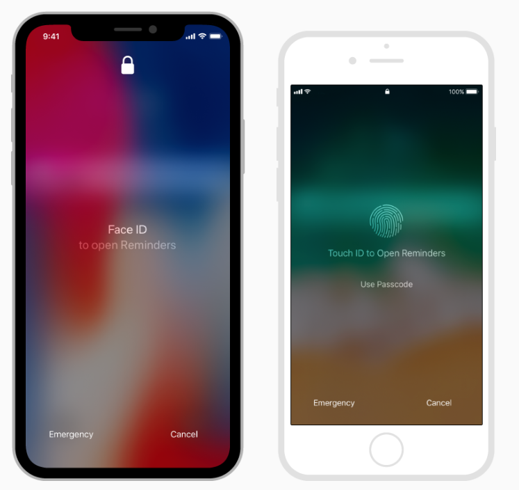 Face ID and Touch ID Whenever possible, support