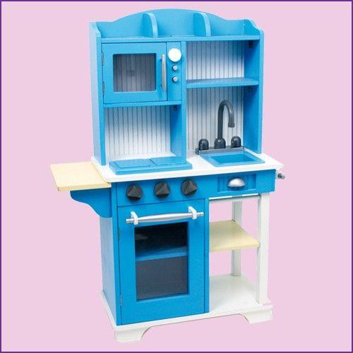 Cuisine en bois de couleur bleu pour enfants cuisine for Cuisine bleu bois