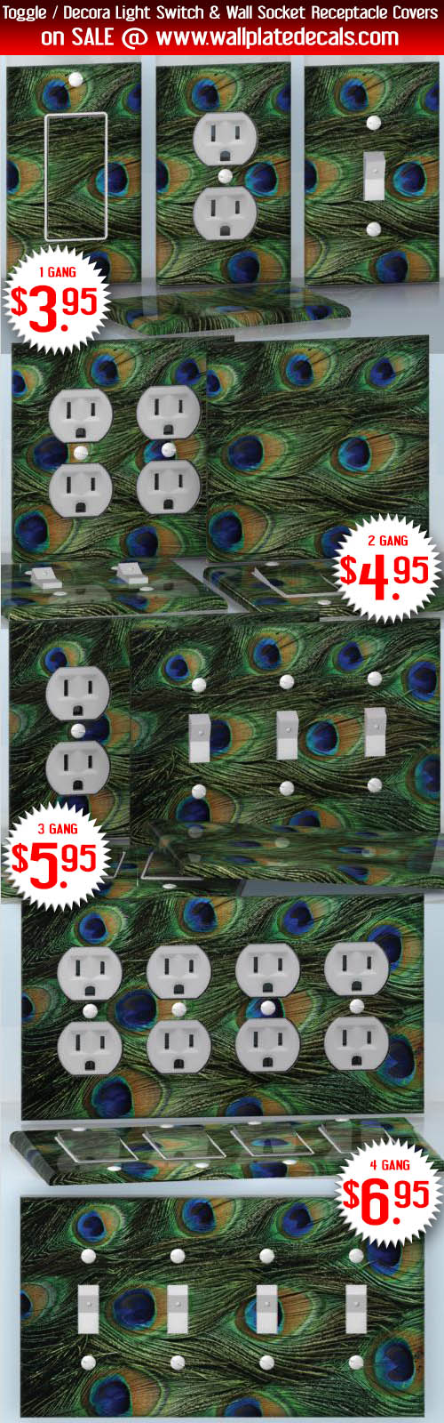 Diy 3 Gang Wall Socket Duplex Receptacle Decal Skin Wrap Sticker Plates On Wall Wall Plate Cover Peacock Pattern