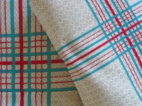 French Linen Fabric Bolt Of Unused Red And Green By Couturesse