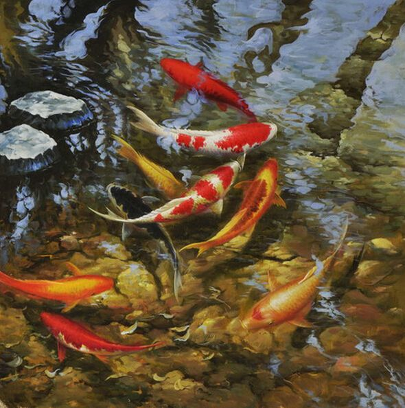 Popular koi fish painting feng shui buy cheap koi fish for Koi artwork on canvas