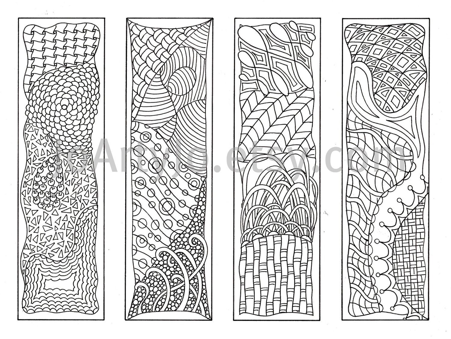 Zentangle Inspired Printable Bookmarks to Color, Zendoodle Art ...