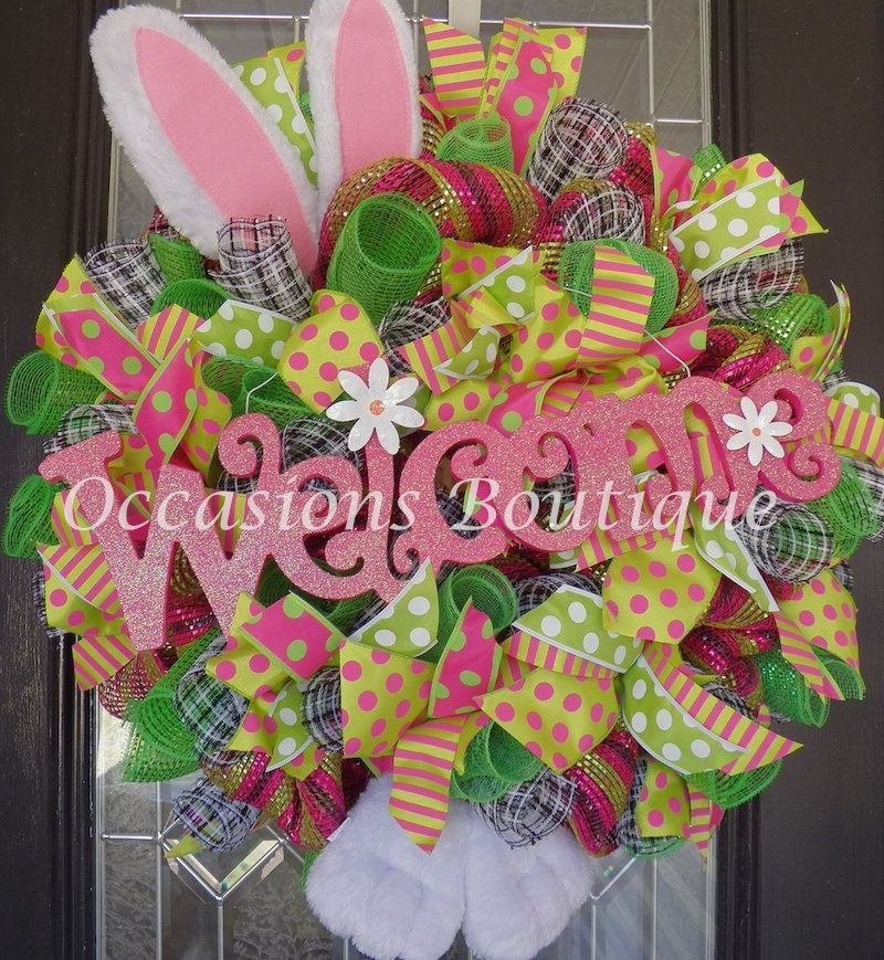 Easter Wreath, Easter Door Hanger, Easter Decoration, Spring Wreaths, Whimsical Wreath, Bunny Wreath, Front door wreaths, Ready to Ship by OccasionsBoutique on Etsy