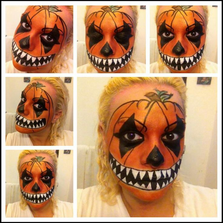 halloween pumpkin face makeup - Google Search | Halloween ...