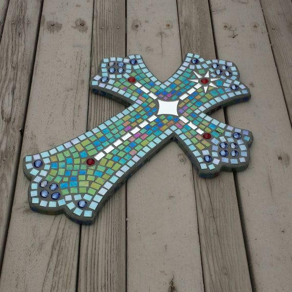 Hand made large mosaic cross with iridescent stained glass, cut mirror and glass beads