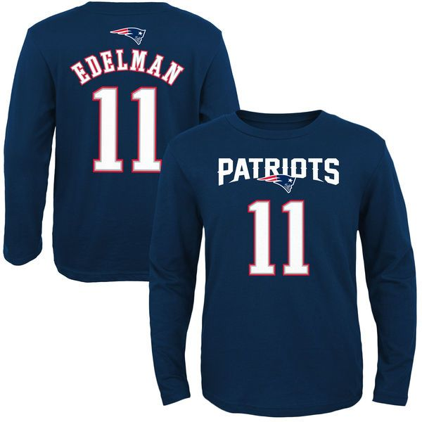 Julian Edelman New England Patriots Youth Primary Gear Name Number Long Sleeve T Shirt Navy Blue 27 99