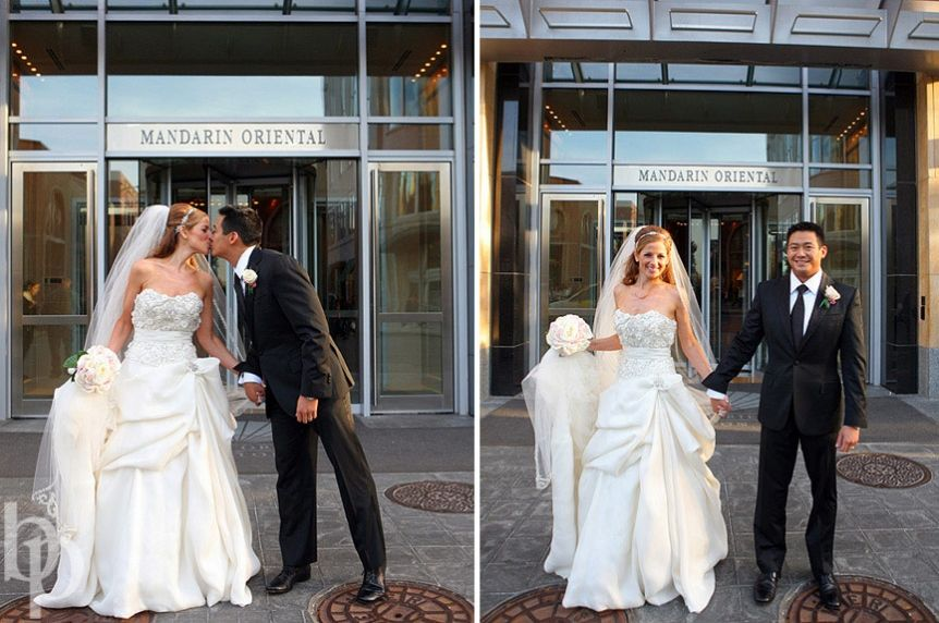 Mandarin-Oriental-Boston-Wedding Bride and Groom Photo Monique Lhuillier Dress