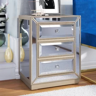 Rosdorf Park Laskowski Crystal 3 Drawer Accent Chest Wayfair In 2020 Accent Chests And Cabinets Mirrored Furniture Furniture