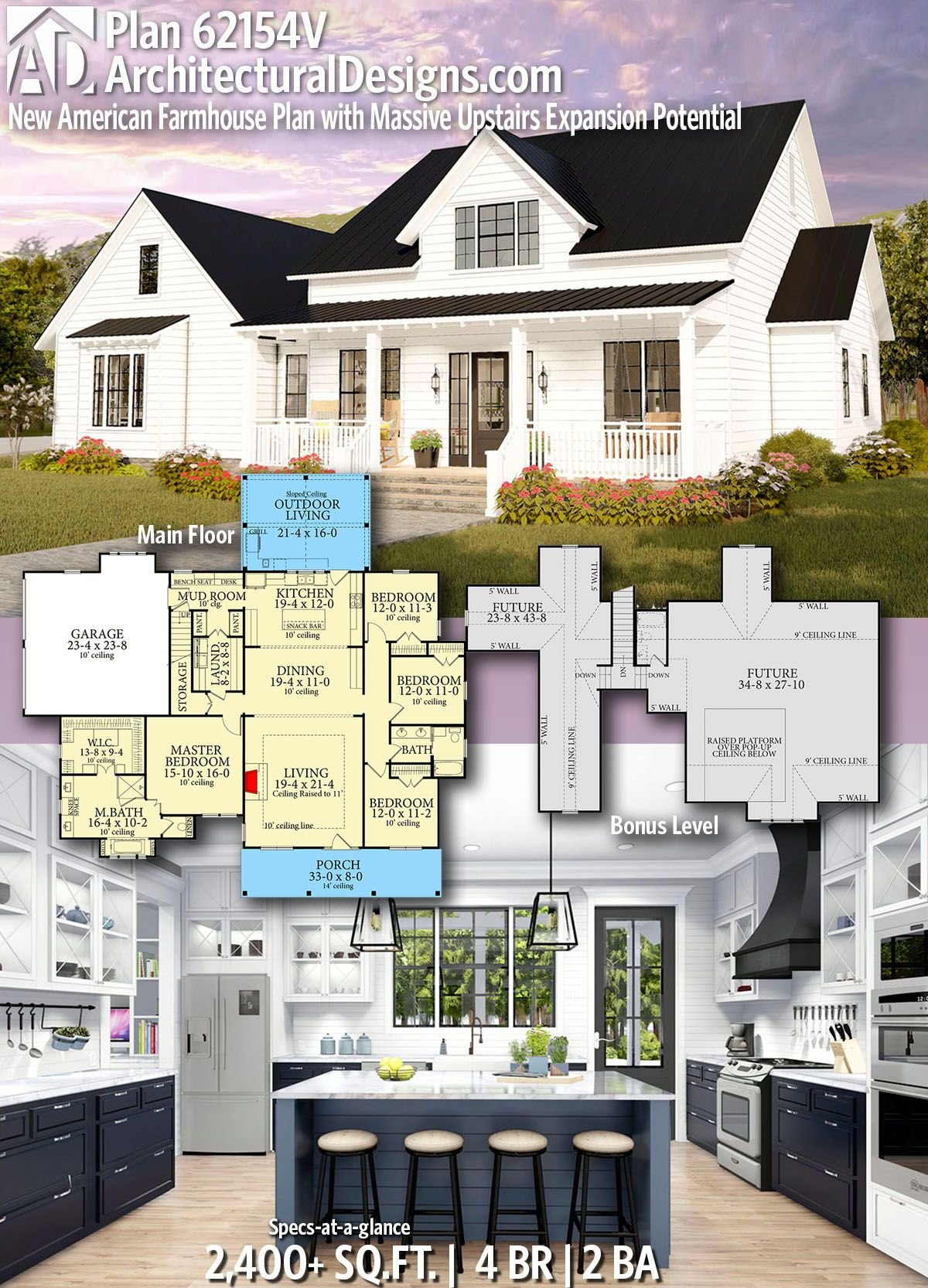 Plan 62154v New American Farmhouse Plan With Massive Upstairs Expansion Potential Modern Farmhouse Plans Farmhouse Plans Dream House Plans