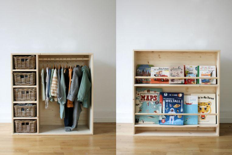 """Photo of """"Ich will mich selbst anziehen!"""" Tutorial für ein DIY-Möbel das Kleiderschrank UND Bücherregal ist."""