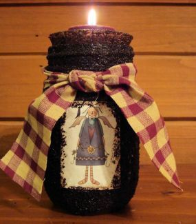 How to Make Primitive Crafts | Grungy Angel Jar Candle - CraftStylish