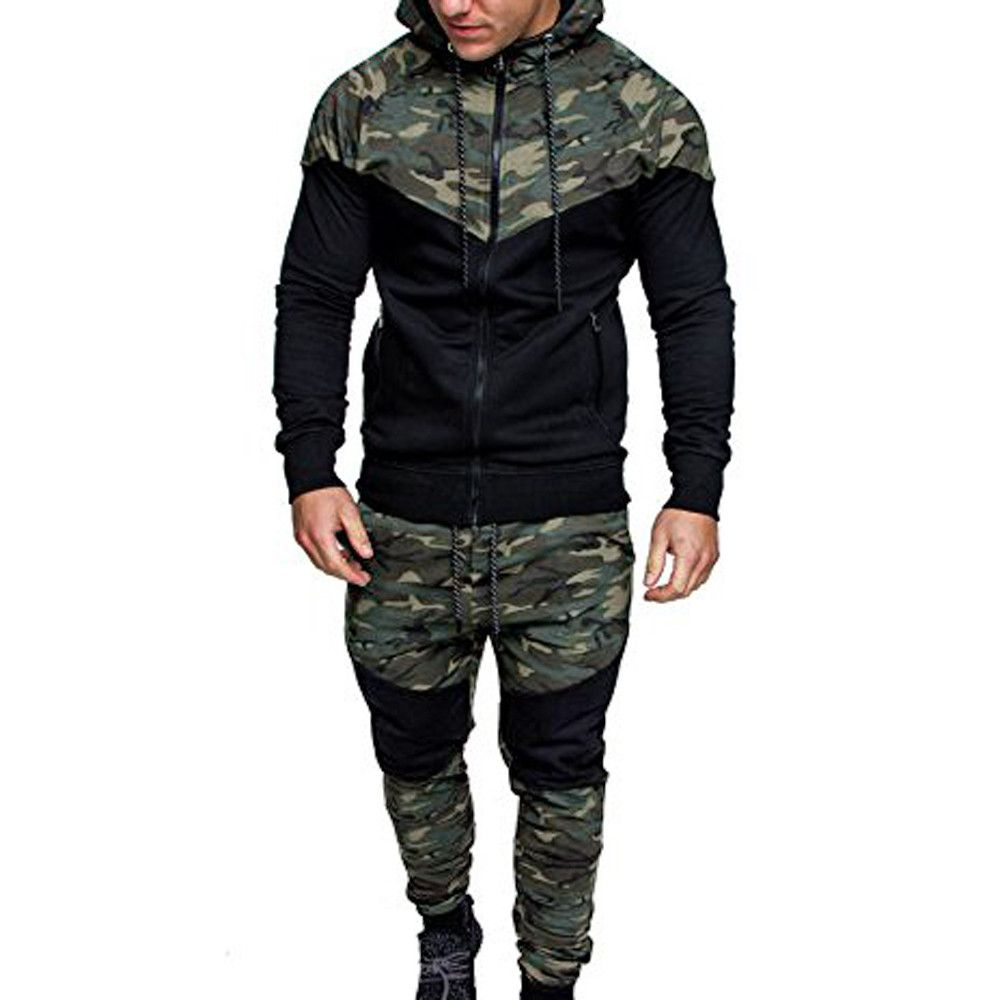 Men/'s  Camo Camouflage Tracksuit Jogging Bottom Jogger Hoodies Top Jumper