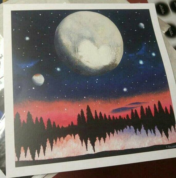 Pluto Painting Space Painting Dwarf Planet Print Planet Art