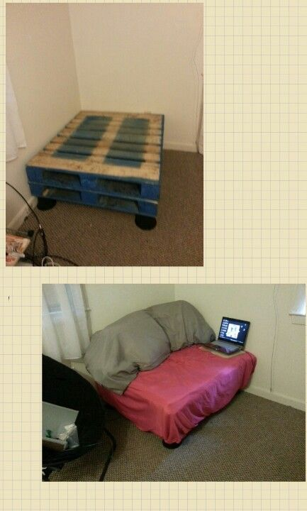 Really easy cheap diy pallet couch just 2 pallets 4 bed Really cheap beds