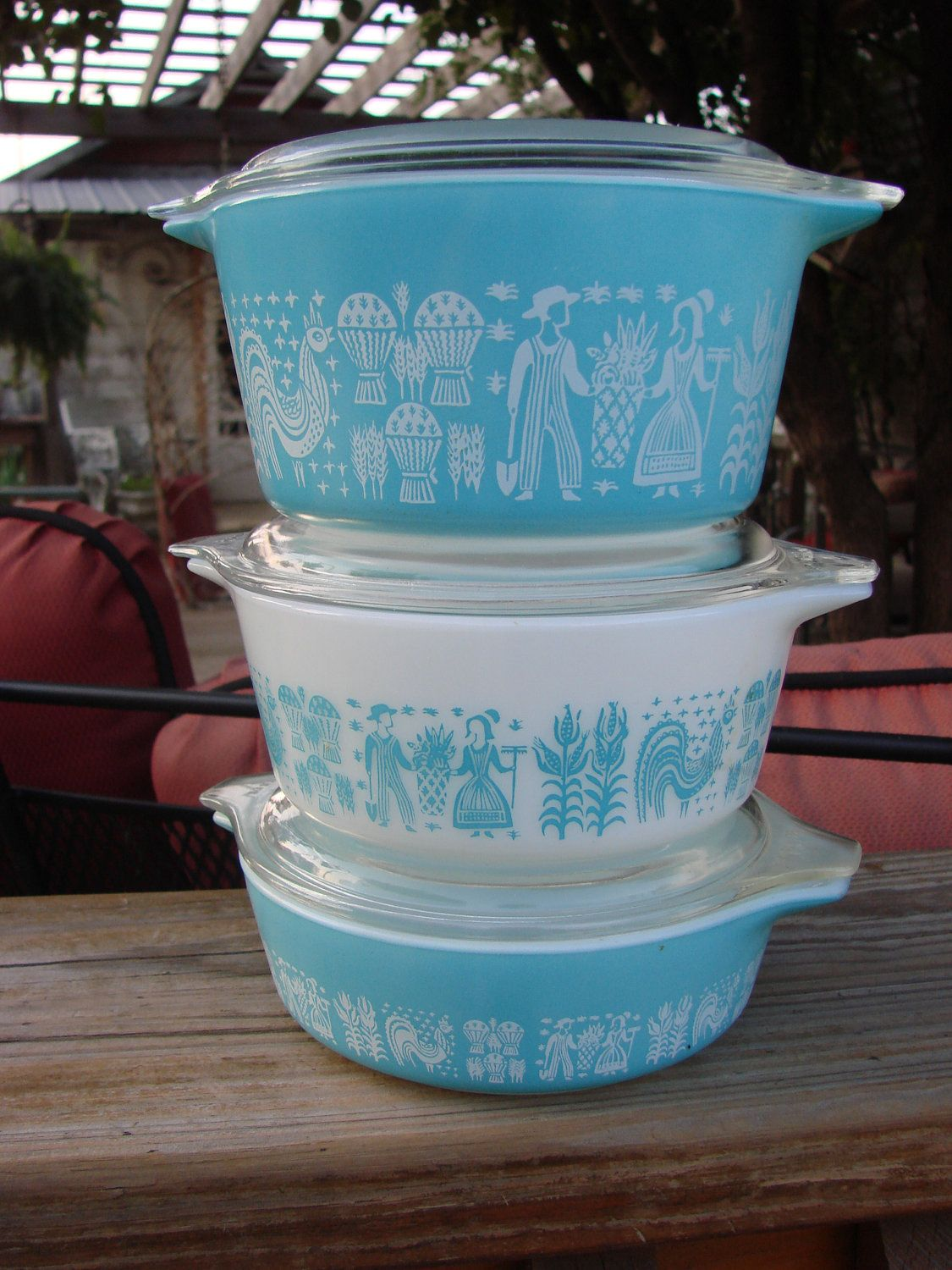 3 Vintage Pyrex Turquoise Butterprint Amish Scene by thecherrychic ...