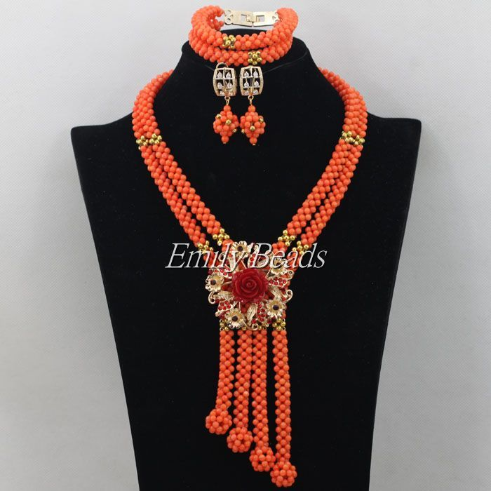 2015 Hot Handmade African Wedding Nigerian Beads Jewelry Set Coral ...