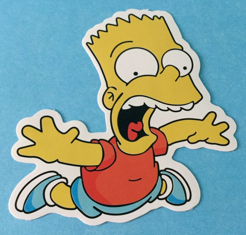 The Simpsons Screaming Wipeout Bart Simpson Skateboard Laptop Car Bumper Decal Unbranded Stickers