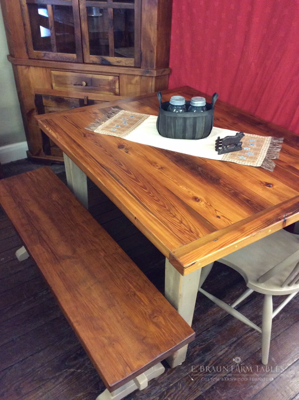 Reclaimed Yellow Pine Barn Wood Farm Table And Bench Natural With - Natural wood farm table