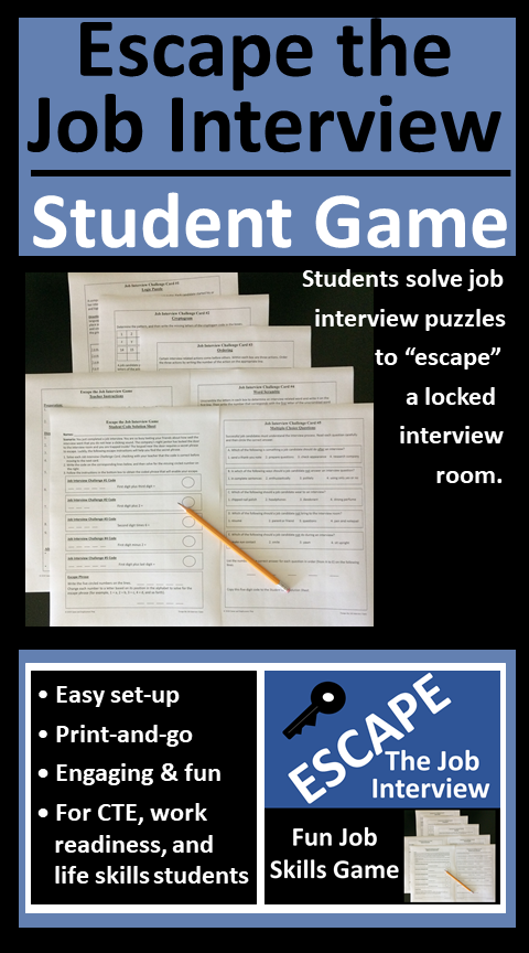 Escape The Job Interview Skills Game Printable And Or Distance Learning Job Interview Interview Skills Life Skills Lessons