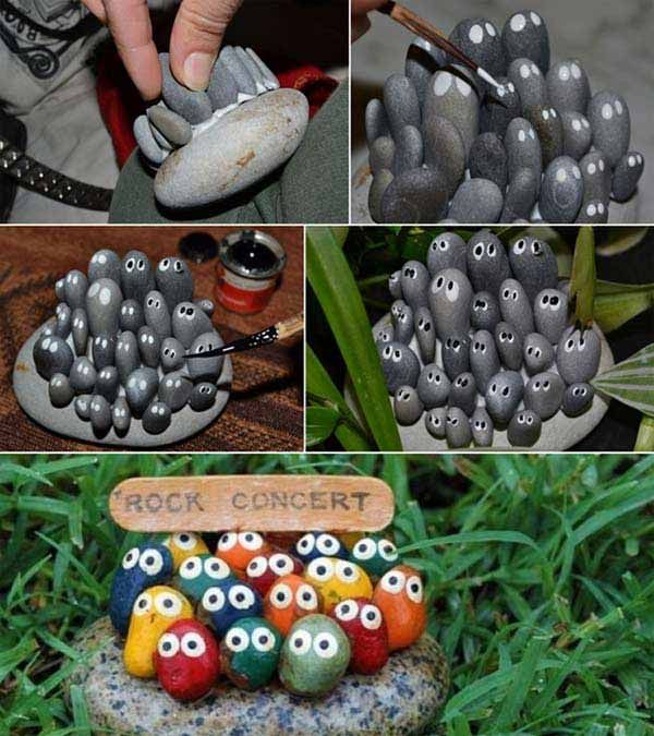 Cute Kidu0027s Rock Stone Art Project....Handmade Cheap Garden Decor Ideas To  Upgrade Your Garden #DIYGardenDecorIdeas