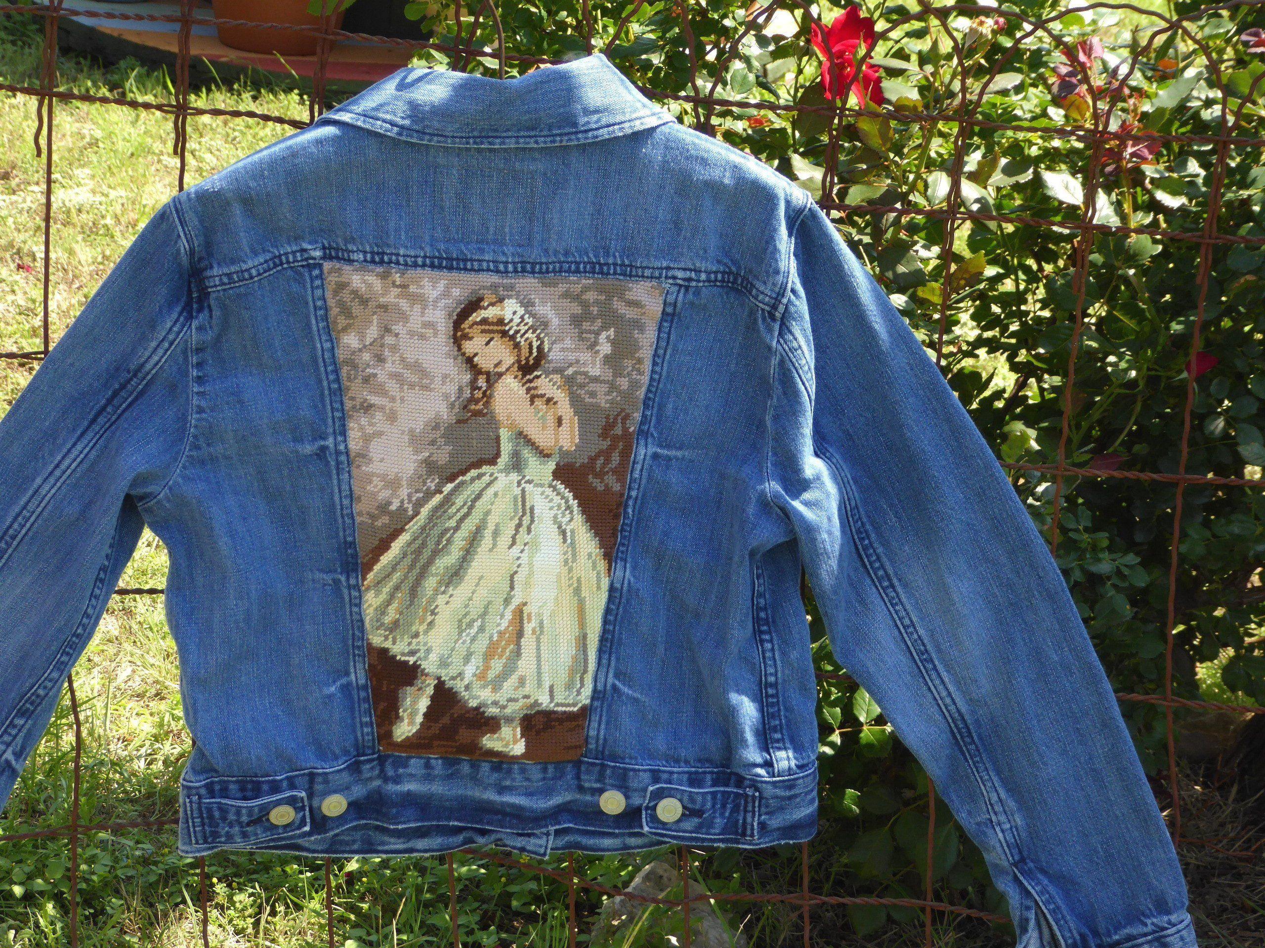 Ballerina Needlepoint Levis Denim Jacket Small Small Levi Etsy Levi Denim Jacket Denim Jacket Levis Denim [ 1920 x 2560 Pixel ]