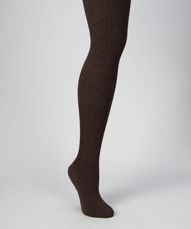 Take a look at this Brown Heather Cable-Knit Tights - Women by MeMoi on #zulily today!