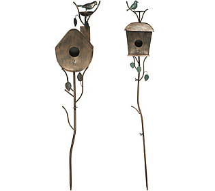 Set Of 2 Birdhouse Garden Stakes 36 Quot And 48 Quot Decorative