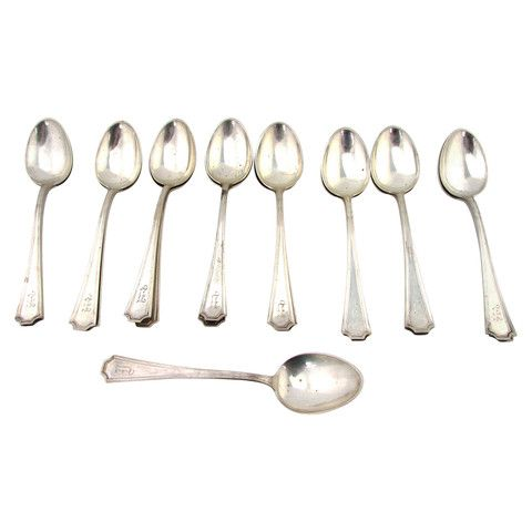 Antique Sterling Silver Demitasse Spoons, Set of 17