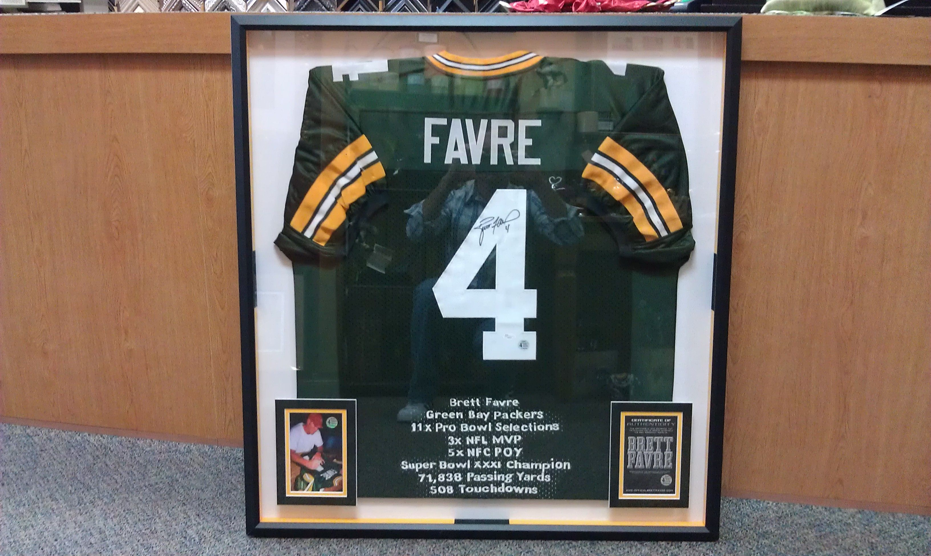 new arrival 0a72b e4aa6 Brett Favre jersey. Framed at The Great Frame Up, Spring ...