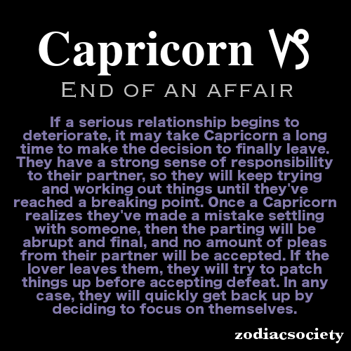 Capricorn and the end of an affair  Holy schnikes that is