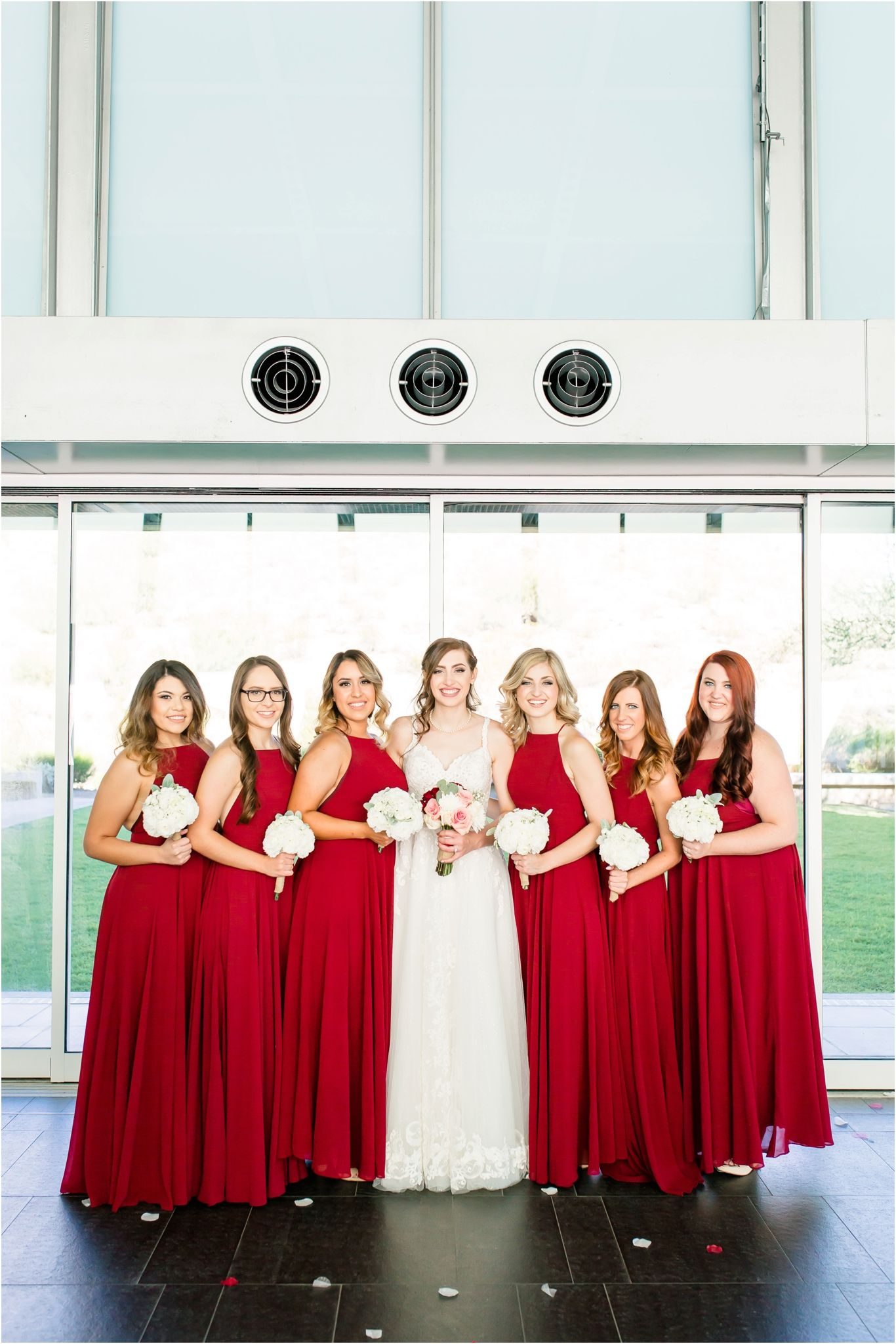 Wine Red Gold Inspired Wedding At The Prayer Pavilion Of Light At Dream City Church In Phoen Wedding Inspiration Gold Wedding Inspiration Bridesmaid Pictures