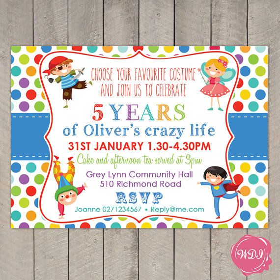 Boys Birthday Party Invite Fancy Dress Costume By