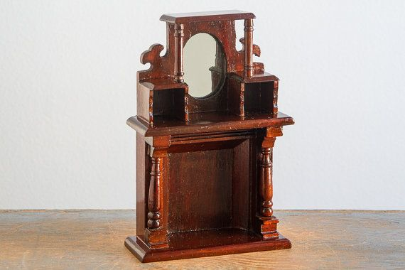 Wooden Fireplace with Mantle & Mirror - 1:12 Scale Vintage Dollhouse Furniture