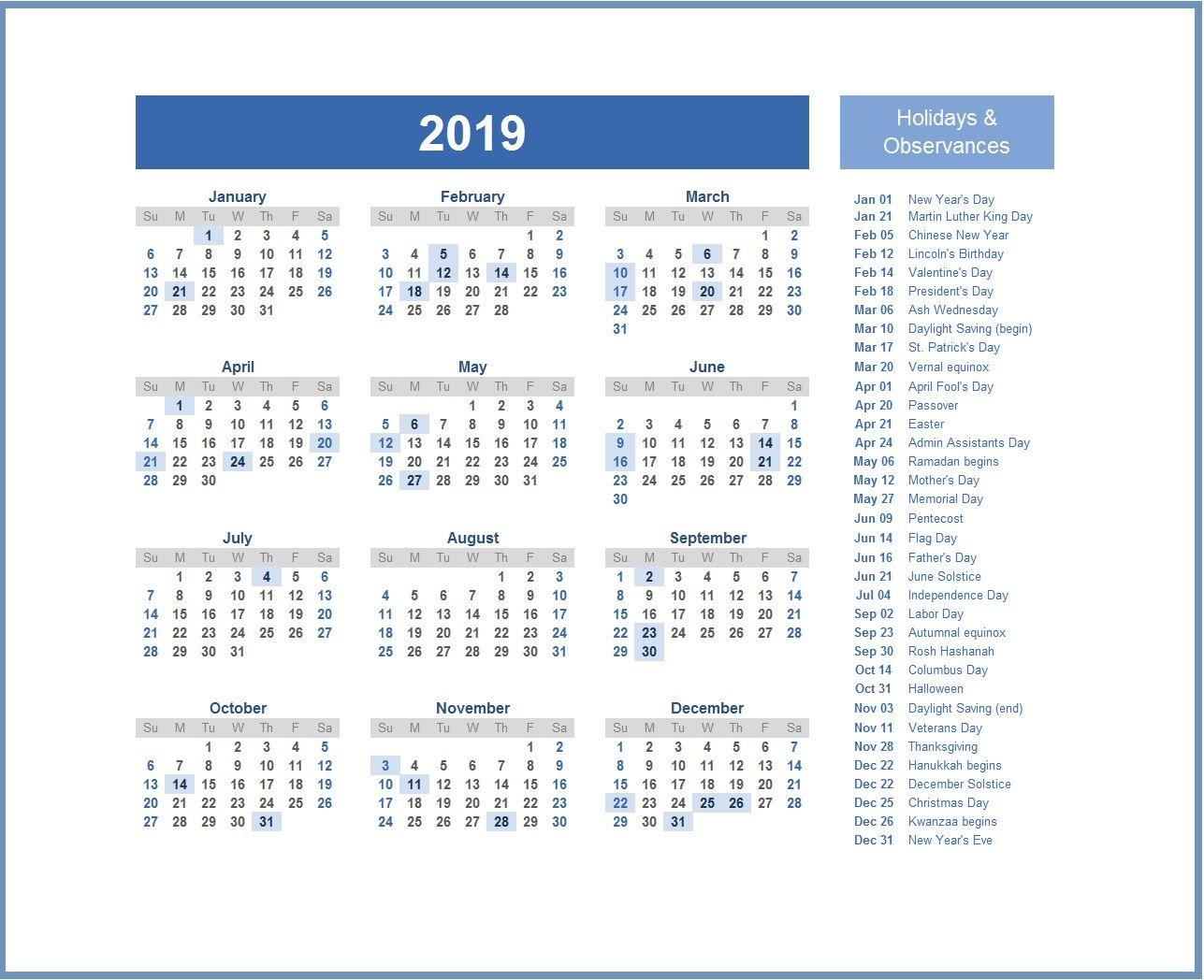 2019 Monthly Usa Holidays Calendar Holiday Calendar Usa