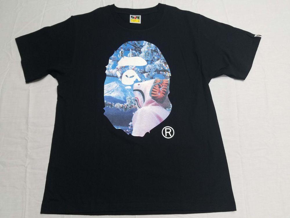 1874bc38a A Bathing Ape Bape Sakura Ape Head Photo Tee T Shirt Large Black #fashion #