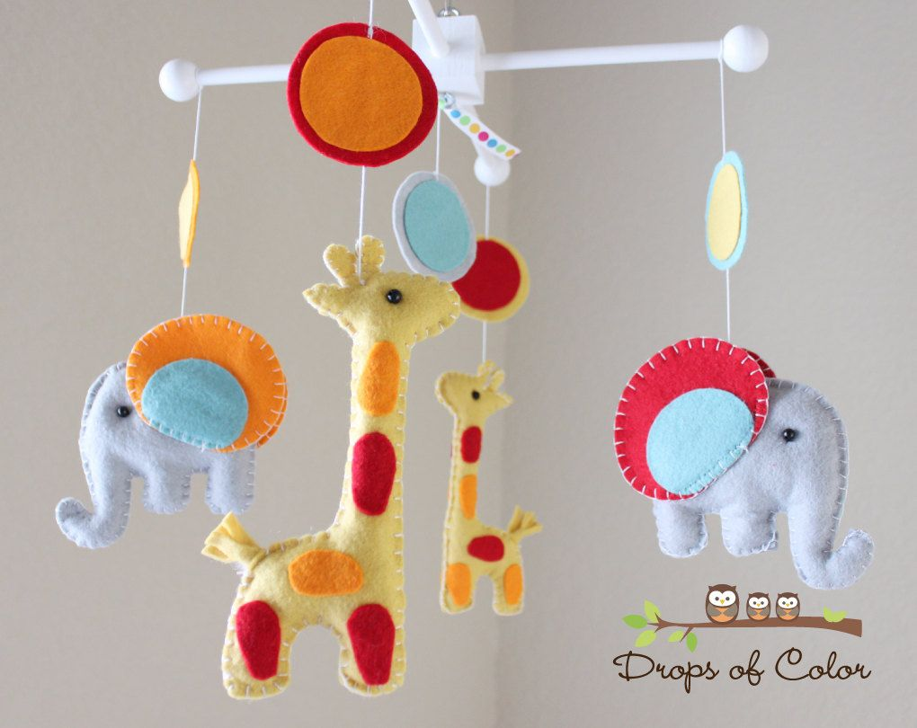 Mobile for baby crib - Baby Mobile Baby Crib Mobile Nursery Elephant Giraffe Mobile Safari Mobile Baby Giraffes Elephants You Can Pick Your Colors By Dropsofcolorshop
