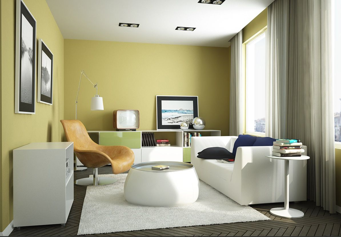 Yellow Wall Paint Color Living Room with White Large Rugs under ...