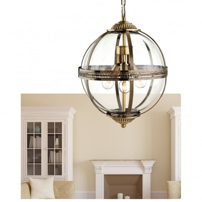 Firstlight Delicate Traditional Bronze Clear Glass Globe Pendant