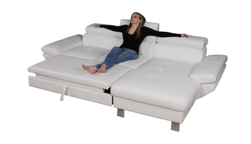 STONE   Shown Ottoman Pulled Out In Leather. Contemporary Sofa Features  Adjustable Headrests And Flip Up Arm Rests.