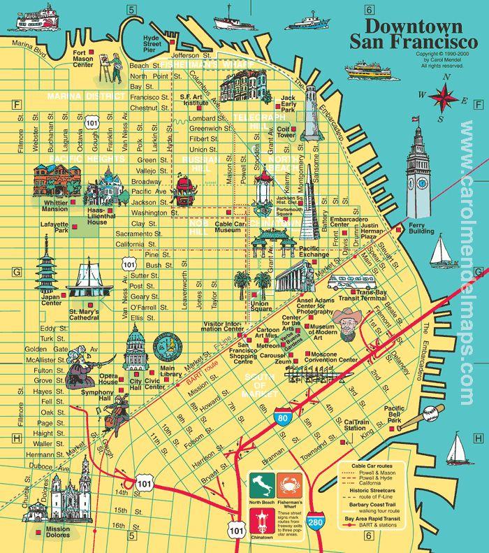 Map of Downtown San Francisco CA San Francisco CA Pinterest